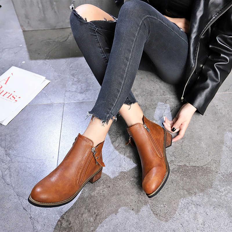 2019 nova moda feminina botas clássico zíper neve tornozelo botas de camurça de inverno quente pele de pelúcia feminino outono botas de inverno 35-40