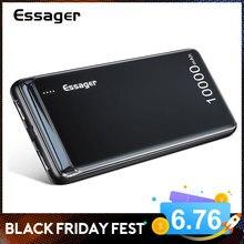 Essager 10000 mAh 보조베터리 슬림 USB 10000 mAh 보조베터리 iPhone Xiaomi Mi 9 PoverBank 용 휴대용 외장 배터리 충전기 팩