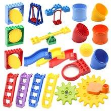 Grandes blocos de partículas série parque de diversões pipeline playground slide escada balanço gangorra grandes blocos de construção brinquedos para o presente do miúdo