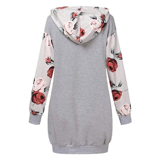 2021 Fashion Women Dresses Autumn Winter Elegant Floral Printed Jurk Hooded Pockets Short Female Sweatshirt Dress Femme #t2g 4