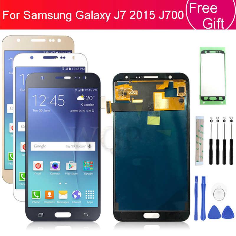 لسامسونج غالاكسي J700f شاشة الكريستال السائل J700 2015 مجموعة المحولات الرقمية لشاشة تعمل بلمس J700M J700H غيار للشاشة إصلاح أجزاء