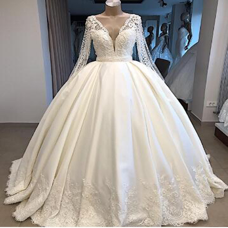 Sexy Illusion Full Sleeve Ball Gown Wedding Gowns  With  Lace AppliquesBeading V-neck Button Court Train Bridal Gown Or Bridal