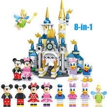 """Игровой набор """"замок мечты"""", Микки, Минни, мыши, Дональд Дак, Дейзи, мини-игрушка, фигурка для детей, строительный блок, кирпич, совместимый с Lego"""