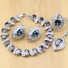 925 argent Sterling naturel mystique arc en ciel Zircon pierre bijoux ensembles pour femmes boucles doreilles/pendentif/bague/Bracelet/collier ensemble
