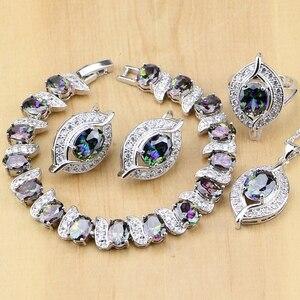 Image 1 - Argento Sterling 925 Natural Mystic Arcobaleno di Pietra Zircone Set di Gioielli Per Le Donne Orecchini/Pendente/Anello/Braccialetto/collana Set