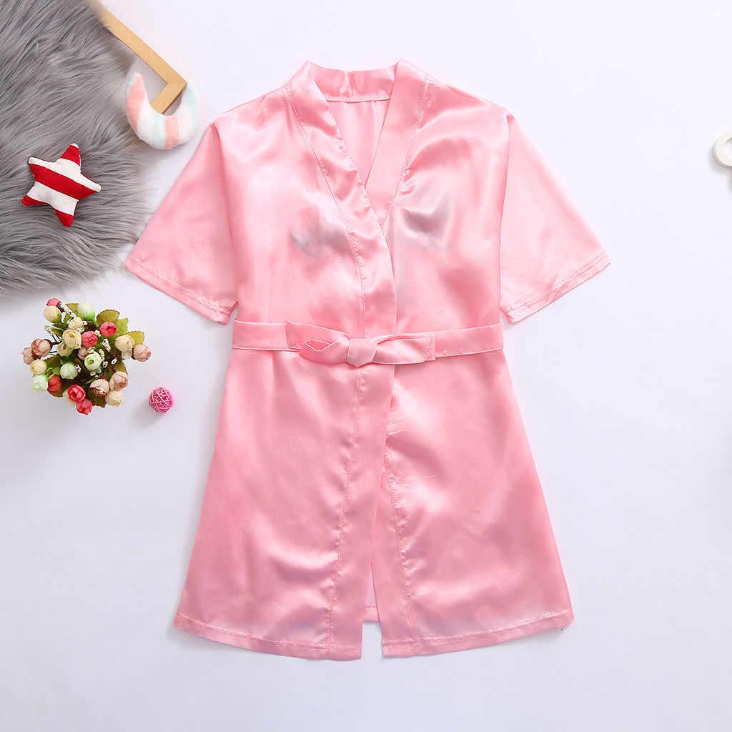 Maluch dziecko Satin szlafrok kimono dziewczyny Kid jednolity jedwab szlafrok urodziny dziewczyny bielizna nocna wiele kolorów ubrania Roupao Infantil 2020