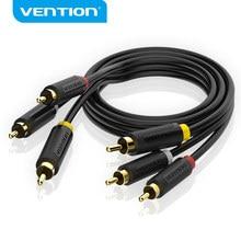 Vention cabo de áudio 3rca para 3rca, cabo de áudio macho banhado a ouro macho, cabo av rca, para áudio stb dvd blueplayer para tv vcd
