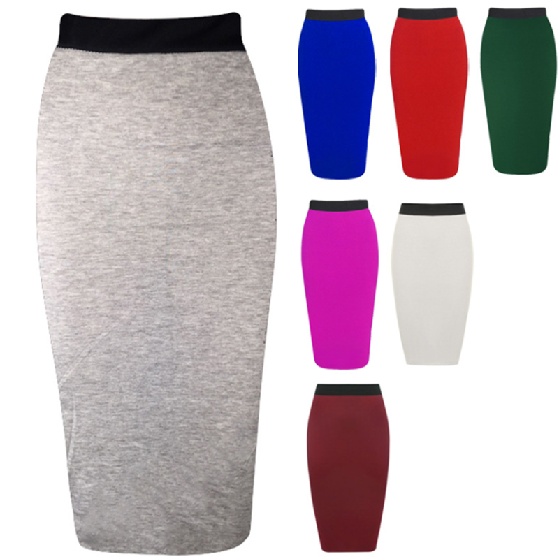 New Ladies Office Stretch Bodycon Midi Skirt Women Pencil Skirt Female High Waist Mid-Calf Skirt Slim Plus Size XL
