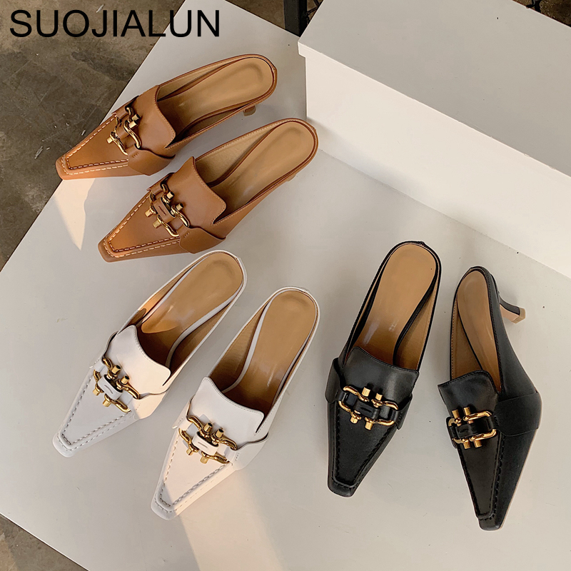 SUOJIALUN 2020 Summer Fashion Brand Mules Slipper Med Heel Outsides Ladies Slides Pointed Toe Slip On Luxury Beach Mules Shoes