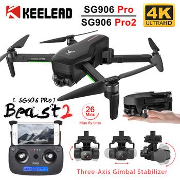 KEELEAD-Dron RC Quadcopter SG906 5G 4K z kamerą HD nawigacją GPS Wi-Fi 2- lub 3-osiowy przeciwwstrząsowy Gimbal profesjonalny bezszczotkowy tanie i dobre opinie 1080 p hd video recording 720 p hd video recording CN (pochodzenie) Kamera w zestawie Brak 1200M Build in 6 Axis Gyro 12 4cm
