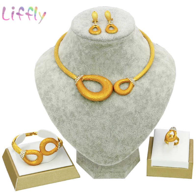 קסם כלה תכשיטי אופנה נשים סט תכשיטים אפריקאי דובאי זהב שרשרת עגילי טבעת צמיד קלאסי עגול תכשיטי סט