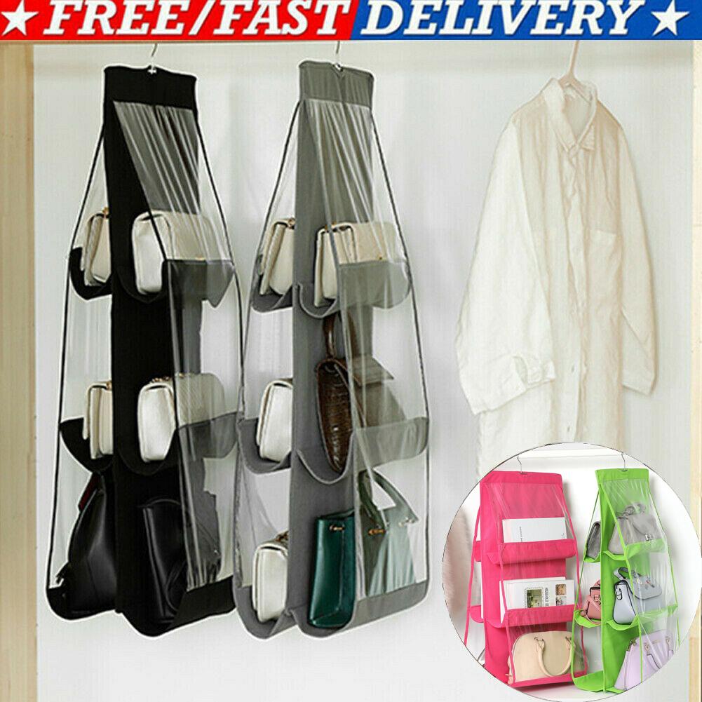 H7e145cbb452f4a53a549a23fe4a2b176T - 6 Pocket Foldable Hanging Bag 3 Layers Folding Shelf Bag Purse Handbag Organizer Door Sundry Pocket Hanger Storage Closet Hanger
