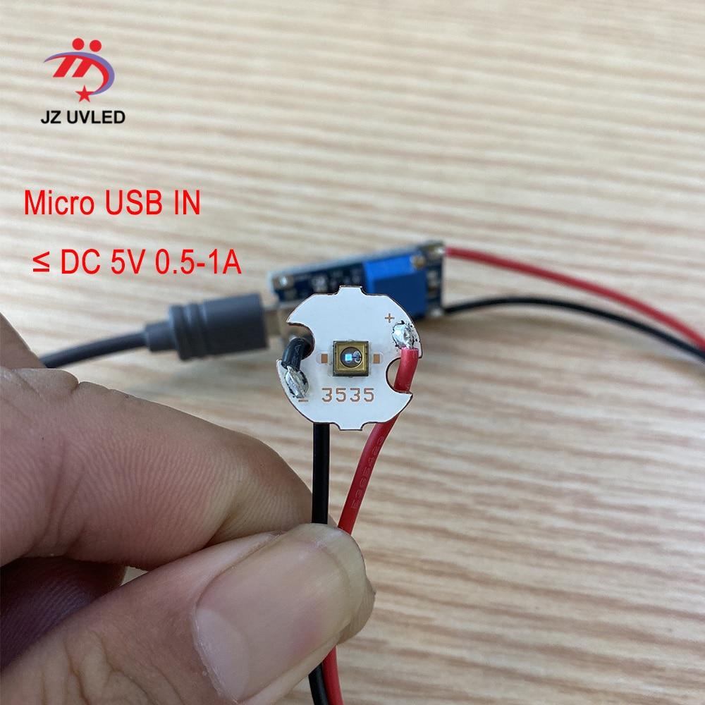 5pcs 275nm UVC LED Lamp Beads For UV Disinfection Equipment 265nm 285nm SMD 3838 Chip LED Deep Violet Ultraviolet Light 5V USB