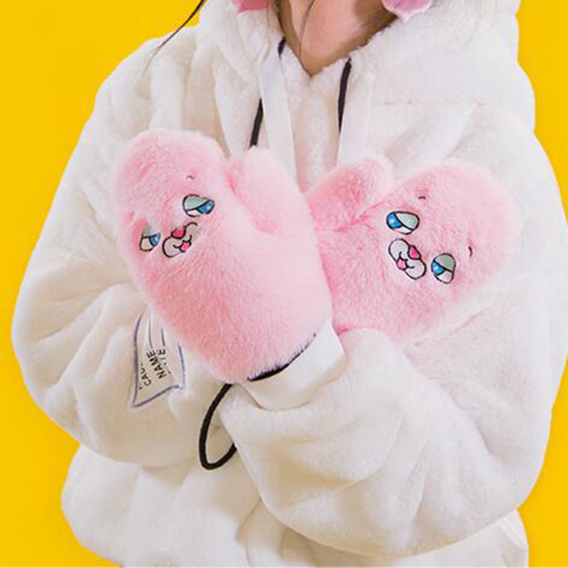 Coslony Women Cute Cartoon Cat Full Finger Halter Mitten Winter Plus Plush Thick Cashmere Wool Knit Warm Leopard Print Glove