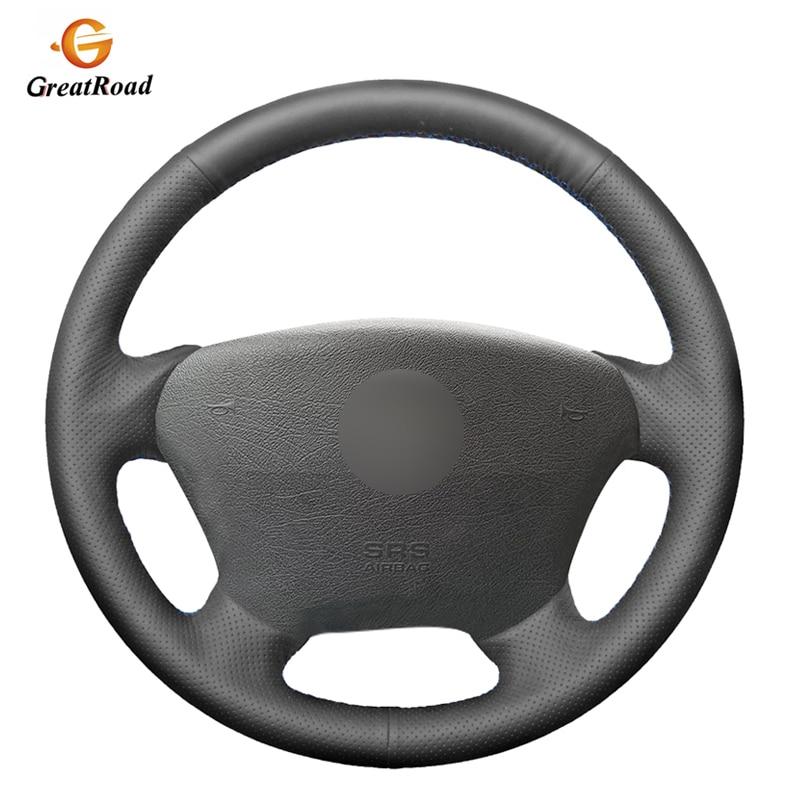 Hand-genäht BlackGenuine leder Auto Lenkrad Abdeckung für Mercedes Benz W163 M-Klasse ML230 270 320 350 430 500 1997