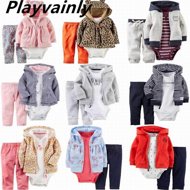 2020 комплекты для маленьких мальчиков и девочек комбинезон с длинными рукавами + пальто с капюшоном + штаны костюм из 3 предметов детская одежда E22358 1