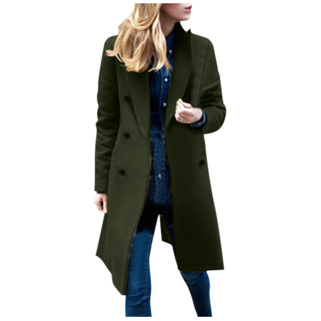 Womens Winter Lapel Wool Coat Trench Jacket Long Overcoat Outwear autumn winter Dropshipping size Leisure Work clothes Selling 2