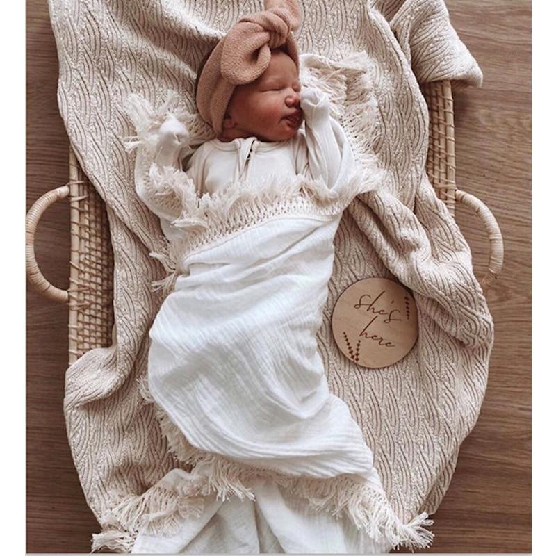Infant Organic Cotton Wrap Newborn Lace Gauze Swaddle Wrap Children 120*120CM Muslin Summer Blanket Baby Photography Blankets
