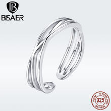 BISAER 925 Sterling Silver Triple Layers Open Adjustable Finger Rings Unisex Vintage Argent Bijoux Gifts for Women GXR483
