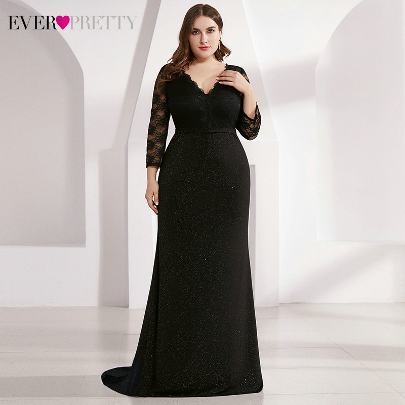 Plus Size Black Lace Evening Dresses Ever Pretty EP07856BK Double V-Neck 3/4 Sleeve See-Through Sweep Train Sparkle Party Gowns