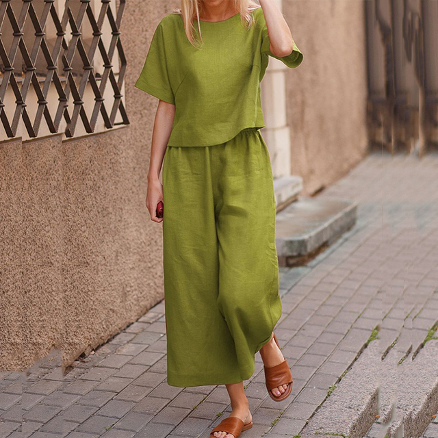 Elegant Short Sleeve Outfit Women Solid Cotton Linen Two Piece Sets Casual O Neck Tops + Wide Leg Pants Suits 6