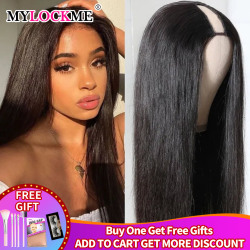 Middle U Part Wig Straight Human Hair Wigs Peruvian Remy Hair Glueless Easy to Install Wigs For Women Natural Color MYLOCKME