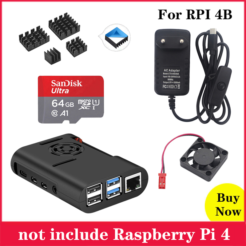 Raspberry Pi 4 ABS Case Black Plastic Box Enclosure With Cooling Fan Cooler For Raspberry Pi 4 Model B Pi 4B Pi4