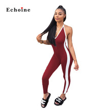 Echoine Women Sexy Jumpsuit Halter Bandage Lace Up Side Stripe Sleeveless Backless Nighclub Rompers Long Pencil Pants Catsuit