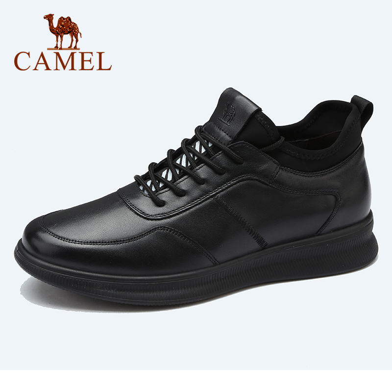CAMEL Autumn Genuine Leather Men's Shoes Outdoor Sports Trend Wild Black Shoes Trend Cowhide Stitching Light Shock Absorption