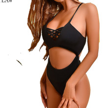 2019 Europe and the United States new Siamese straps sexy bikini sizzling explosions female swimsuit low-breasted Brazilian high