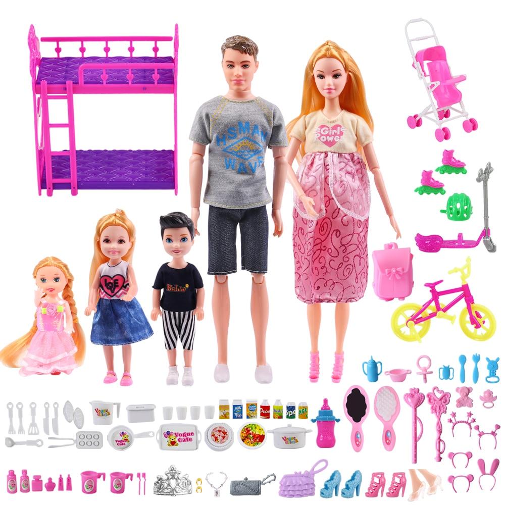 6 pessoas família boneca conjunto com 70 acessórios mãe grávida pai filho do bebê kelly meninas moda brinquedos crianças playhouse brinquedo