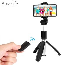 Amazlife L01s Universal Extendable Selfie Stick Monopod Mini Tripod with Bluetooth Remote Shutter for Smartphone(China)