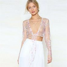 New Women See through Lace Mesh Sheer Long Sleeve Crop Top T Shirt Blouse Tee Bikini Cover Up Nightgown butterfly sleeve button through crop blouse