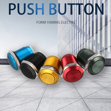 12mm Metal Push Button Switch Momentary Reset Flat/High Head Round 2Pins 1NO Oxidize Black/ Green/ Yellow/ Red/ Blue 6pcs lot black red green yellow blue white 12mm waterproof off on self return push button round switch