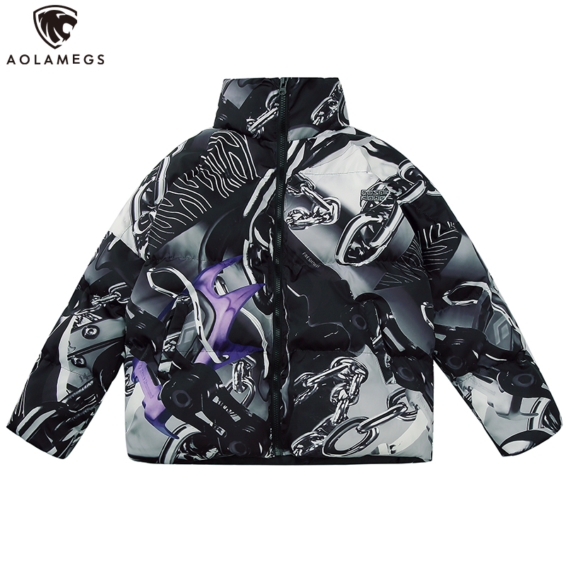 Aolamegs Winter Jacket Men Hip Hop Print Coat Cotton Padded Hooded Thick Advanced Jacket Men Warm Comfortable Casual Streetwear