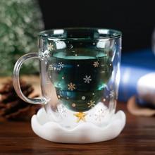 Креативная двухслойная стеклянная Рождественская елка звезда чашка для воды высокая температура кружка Рождественская тематическая чашка Прямая поставка#91240