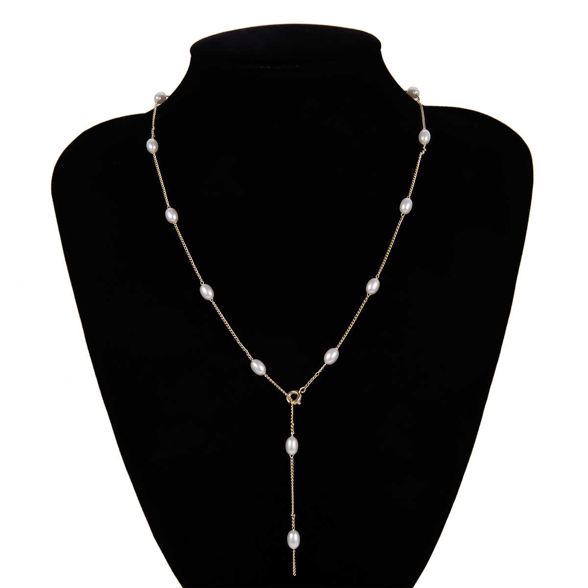 Gothic Sexy Baroque Pearl Bead Choker Necklace Anklet NE+BA Statement Korean Long Chain Necklace Clavicle Tiny Girl Jewelry Set