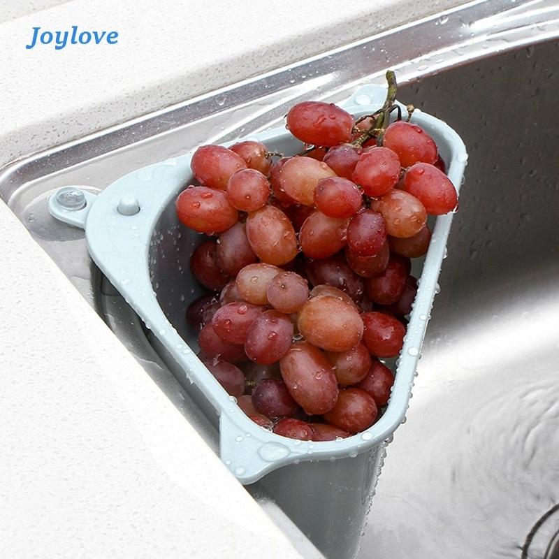 JOYLOVE Kitchen Triangular Sink Strainer Drain Vegetable Fruite Drainer Basket Suction Cup Sponge Holder Storage Rack Sink ABS