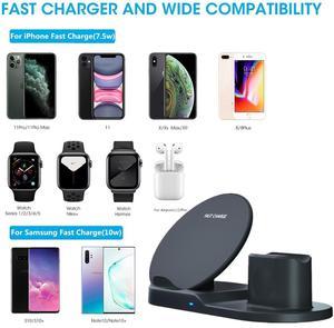 Image 2 - 10W אלחוטי מטען תחנת USB C 3 ב 1 מהיר טעינת Stand עבור אפל שעון 5 4 3 2 1Airpods פרו Dock עבור iPhone 11 XS XR X 8