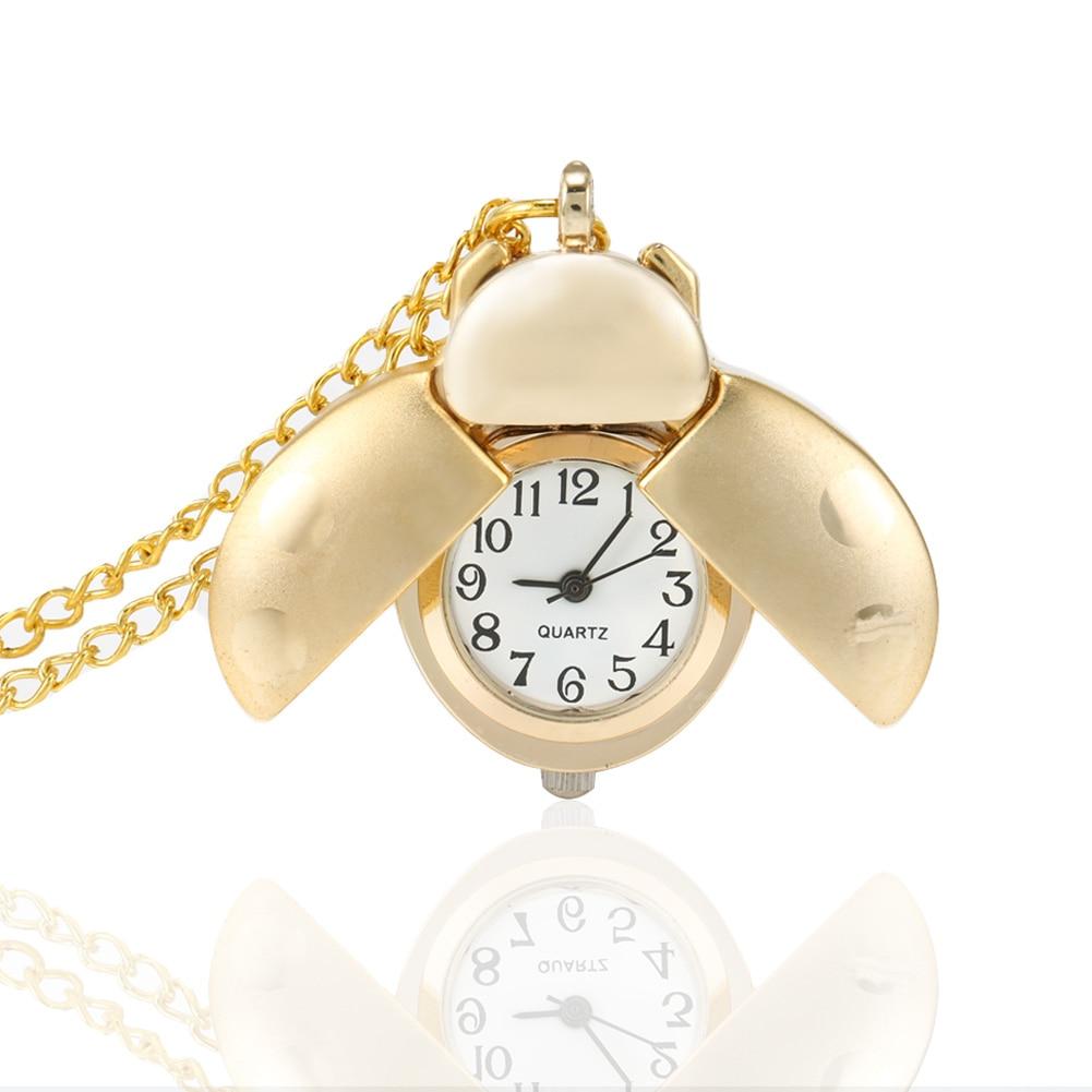 Retro Gold Cute Beetle Quartz Pocket Watch Mechanical Pendant Necklace Chain Clock Gifts LL@17