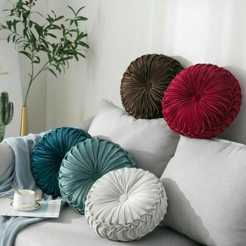 Velvet Pleated Round Pumpkin Pillow Couch Cushion Floor Pillow Decor For Home Textile