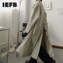 IEFB men's wear Niche design oversize long coat simple casual back buckle windbreaker vintage single breasted trech new 9Y3715