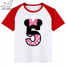 BoysGirls Happy Birthday Pink Number 1-9 Cartoon Mouse Funny T Shirt Kids Clothes Children Summer Baby T-shirt