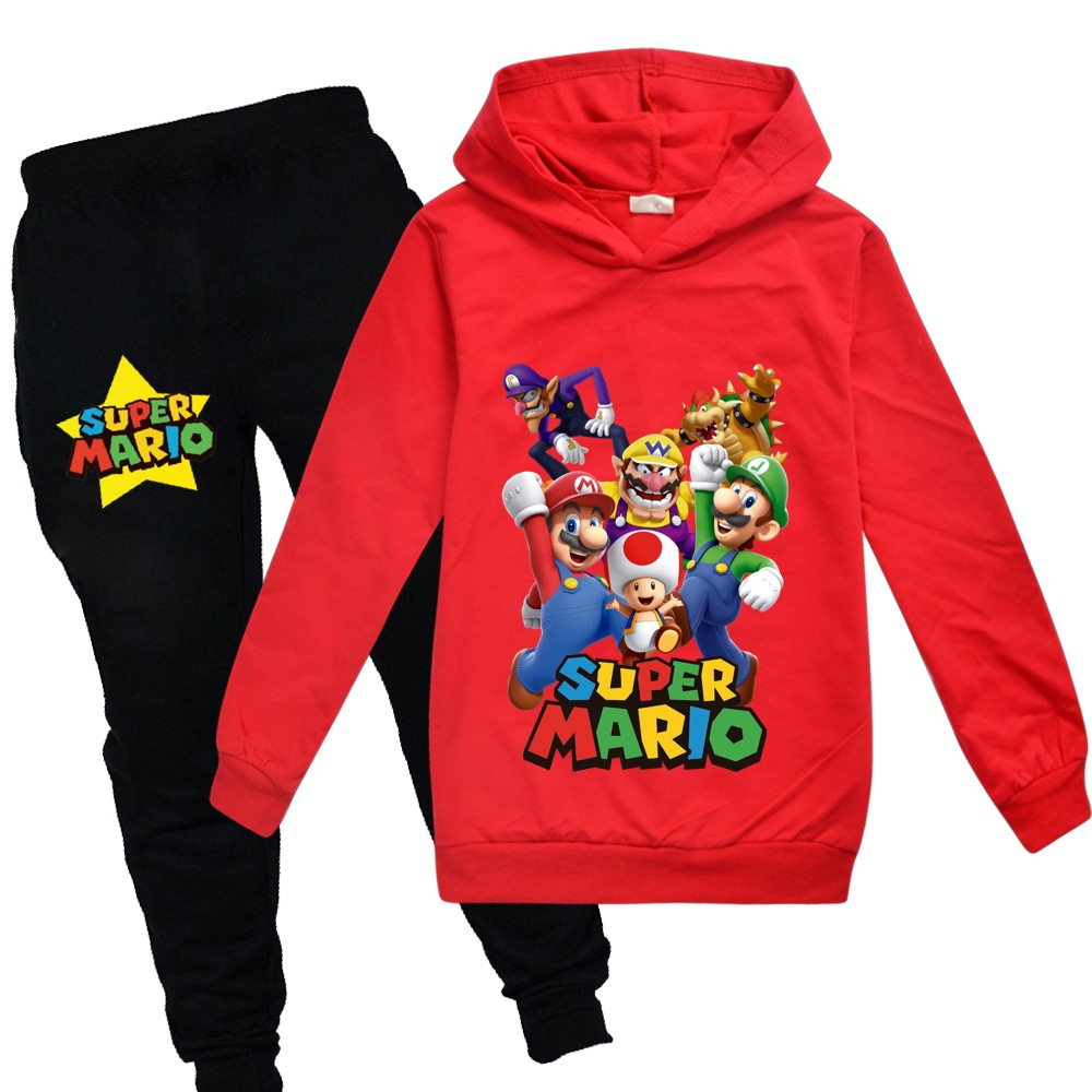 3-14 Years Old Children's Sportswear Hoodie Super Mario Brothers  Boys And Girls Long Sleeve Spring And Autumn Winter Suit
