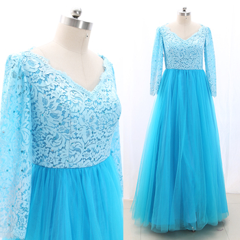 MACloth Aqua A-Line V Neck Floor-Length Long Beading Tulle Prom Dresses Dress L 268747 Clearance
