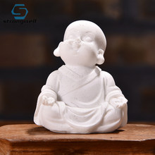 Strongwell White Sand Maitreya Buddha Sculpture Sandstone Resin Fengshui Craft Home Decor Ornament Figurine Home Decoration(China)
