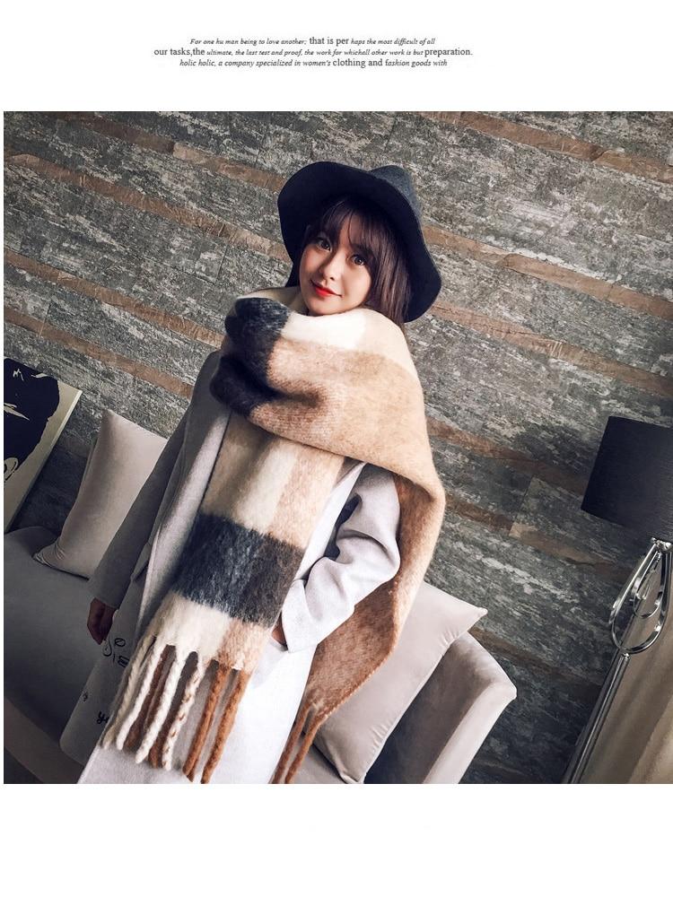 Plaid Scarf Blanket Wrap-Bandana Foulard Pashmina Warm-Shawl Long-Tassel Winter New-Fashion