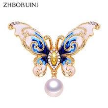 Butterfly Brooch Jewelry Pins Pearl Natural-Freshwater-Pearl ZHBORUINI Women Enamel