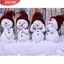 HUACAN-pintura de diamantes 5D de muñeco de nieve, cuadro artístico completo de diamantes de imitación, bordado de diamantes invernal, artesanía de dibujos animados, regalo de Navidad