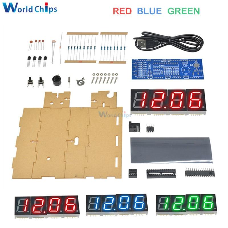 White Digital LED Electronic Microcontroller Clock Screen Display Time DIY